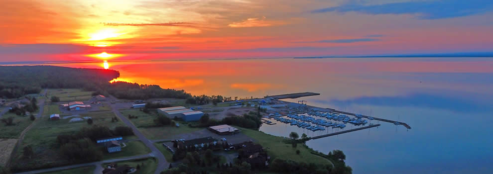 Sunrise over Washburn Marina. Photo by AirFox Photography, LLC