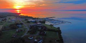 Sunrise over Washburn Marina. Photo by AirFox Photography, LLC